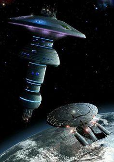 Star Trek Digital Art Glossy Print 'Enterprise D Approaching Earth Spacedock ' Star Trek Tv, Star Wars, Star Trek Ships, Nave Enterprise, Star Trek Enterprise, Star Trek Posters, James T Kirk, Starfleet Ships, Star Trek Images