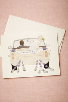 Congrats! Card from BHLDN - Simple watercolor illustration with integrated text might be a way to go for birthday cards as well, as long as it's appropriately stylized.
