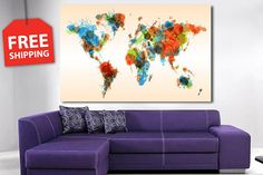 Giant colorful world map panel set detailed world map with 1 5 panel colorful world map canvas painting bright world map wall art decor xxl canvas painting for home office decoration decor gumiabroncs Gallery