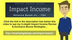 Impact Income Review - https://www.youtube.com/watch?v=34IhE2jbCic - Impact Income Ignition Bonus - The Cons Of A Resource Or Membership Site  You now understand some of the pros of owning a membership site that is fed by resell rights and master rights material; however, there are a number of important cons you should consider, too, in your analysis.