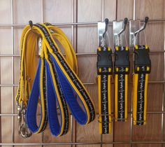 25mm set of Side Release Collars and matching Standard Leads on yellow web with Flyball ribbon.  The flyball ribbon is designed by and only available from us.  The lead handles are padded with close controlled foam and waterproof fabric in royal blue.