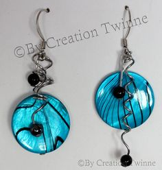 Your place to buy and sell all things handmade Funky Jewelry, Kids Jewelry, Modern Jewelry, Unique Jewelry, Jewelry Design, Striped Earrings, Blue Earrings, Unique Earrings, Handmade Design