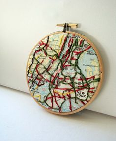 Embroidered Map Hoop Art New York by yinsteadofi on Etsy