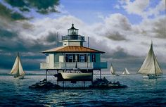 Oil Painting of Choptank Lighthouse by Richard Moore