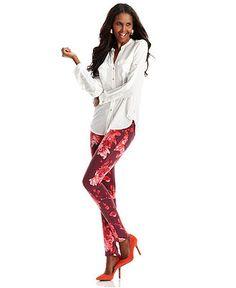 Red Splash Printed Jeans Look - Womens - Macy's