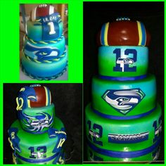 My favorite Seahawk cakes I've made;)