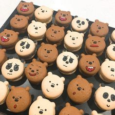 Tag somebody you would eat these with 😻😛😋 - Kawaii - Macarons Macarons, Cute Food, Yummy Food, Kreative Desserts, Cute Baking, Kawaii Dessert, Bear Party, Bear Birthday, Cute Desserts