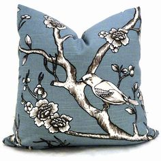 Robert Allen Wedgewood Blue Aviary Decorative Pillow by PopOColor, $35.00