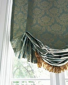 Pleated Relaxed Roman shade/valance with trim Drapes And Blinds, Blinds For Windows, Bamboo Curtains, Bedroom Windows, Window Coverings, Window Treatments, Relaxed Roman Shade, Balloon Shades, Honeycomb Shades