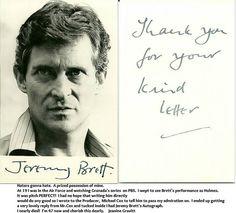 Jeremy Brett's Autograph, lucky girl!!!