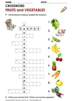 Ideas Fruit And Vegetables English English Activities For Kids, English Worksheets For Kids, Preschool Worksheets, Lessons For Kids, Kids English, English Words, English Lessons, Learn English, English Class