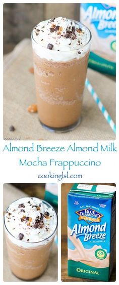 Summer-vegan-Almond-Breeze-Almond-Milk-mocha-frappuccino, w/o the whipped cream Is Almond Milk Healthy, Almond Milk Recipes, Smoothies With Almond Milk, Green Smoothies, Almond Milk Coffee, Chocolate Almond Milk, Chocolate Desserts, Almond Milk Cappuccino Recipe, Almond Milk Whipped Cream