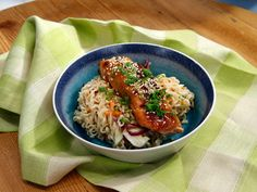 Miso-Glazed Salmon Cold Noodle Salad recipe from Jeff Mauro via Food Network