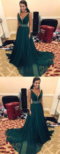 green long prom dress, evening dress, formal dress