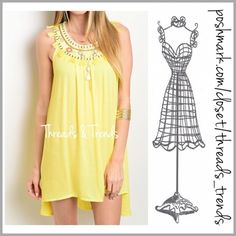 Fresh Spring yellow Dress Brighten up your spring in this fresh yellow sleeveless tunic dress. Featuring a tassel and bead detail neckline. Made of rayon. Size S, M, L Threads & Trends Dresses