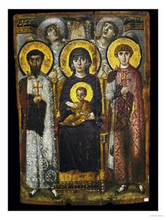 Virgin and Child with Saints and Angels, icon, Monastery of Saint Catherine, Mount Sinai, Egypt, encaustic on wood