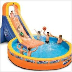 Now in stock Banzai The Plunge Water Slide - Water Toy with Attached Diameter Pool, Perfect for Summer, Pool Parties - Blower Motor Included - L x W x H