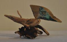 Petit oiseau de bois flotté de Baie-des-Sables...VENDU