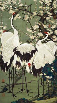 Plum Blossoms and Cranes - Ito Jakuchu