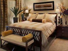Simple bedroom design. Love the warm earthy tones