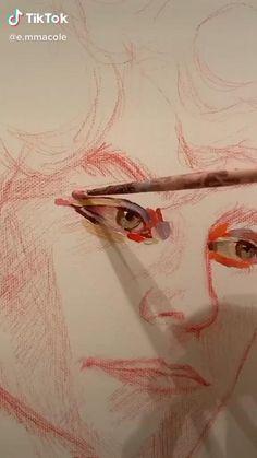 Art Drawings Sketches Simple, Pencil Art Drawings, Realistic Drawings, Diy Canvas Art, Small Canvas Art, Art Sketchbook, Portrait Art, Art Tutorials, Oil Painting Techniques
