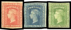 Abacus Auctions / Public Auction 240 - / NEW SOUTH WALES / Lot NEW SOUTH WALES - Small Diadems carmine-vermilion, blue & yellow-green SG 107 112 & the first two with almost full margins, the with margins just clear to good, unused, Cat South Wales, 2d, Yellow, Blue, Bottles, Stamps, Coins, The Past, Objects