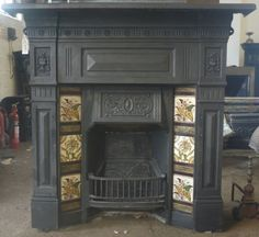 We already have a very similar original cast iron fireplace with original tiles. Antique Fireplace Mantels, Cast Iron Fireplace, Fireplace Mantle, Fireplace Surrounds, Reclaimed Fireplaces, Victorian Parlor, Victorian Decor, Victorian Homes, Radiator Heater