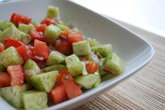 Cucumber Dill Salad (Diabetic Friendly)    There's only a couple ingredients and a simple sauce but the taste is amazing.  I love dill and this salad gets better with time.