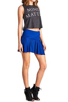 Wide Banded Flare Mini Skirt