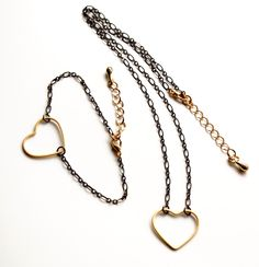 #MixedMetal #Heart Necklace and Bracelet. #Valentine's gift for her by @EverywhereUR, #minimaliststyle, #oxidizedsilverandgold