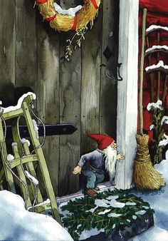 Wholesale Postcards of Inge Look, number 216 Swedish Christmas, Christmas Gnome, Scandinavian Christmas, Christmas Art, Illustration Noel, Christmas Illustration, Troll, Vintage Christmas Cards, Christmas Pictures