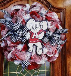 Big Al Alabama Burlap Mesh Wreath by Craftycreations317 on Etsy, $55.00