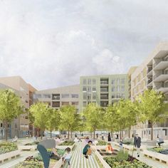 Waugh Thistleton proposes sustainable waterborne village to revive Bergen Collage Architecture, London Architecture, Landscape Architecture, Landscape Design, Architecture Design, Urban Village, Community Housing, Social Housing, Environmental Design