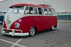 1962 red & white 11 window bus