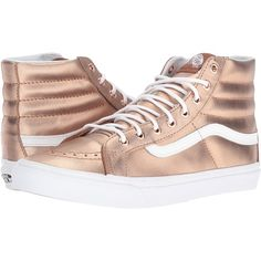 Vans SK8-Hi Slim ((Metallic) Rose Gold/True White) Skate Shoes ($41) ❤ liked on Polyvore featuring shoes, sneakers, gold, white hi top sneakers, white sneakers, white trainers, vans high tops and vans shoes