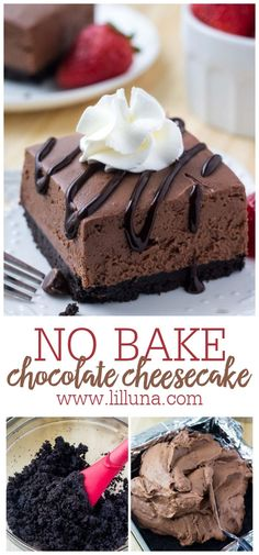Easy, No Bake chocolate cheesecake bars are deliciously creamy with a crunchy Oreo cookie crust. They only take 15 minutes to make!!#nobakechocolatecheesecake #nobakechocolatecheesecakebars #nobakecheesecake #chocolatecheesecakebars #nobake No Bake Treats, No Bake Desserts, Easy Desserts, Delicious Desserts, Dessert Recipes, Yummy Food, No Bake Chocolate Cheesecake, Oreo Cheesecake, Chocolate Pudding Desserts