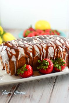 Lemon Strawberry Pound Cake with Chocolate Ganache is an easy yet impressive cake that is perfect for Spring or Easter or any holiday or get together.
