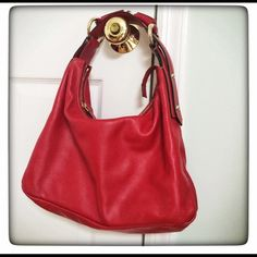 HTF Gucci RED leather medium horsebit hobo  HOT! Like new, barely have signs of usage. Carried only a few times. Purchased from Saks for $1050+tax. Guaranteed authentic. All red leather with cloth lining. Hard to find color! Inside is clean, no stains/smells. Dustbag and original tags included. Gucci Bags Hobos