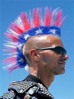 Red White blue hair Mohawk