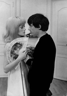 "Catherine Deneuve and David Bailey on the set of ""Les demoiselles de Rochefort"""