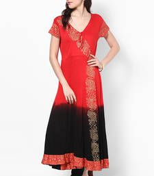 Buy Red  dip dyed Printed Viscose Knitted Anarkali Kurta Kurti kurtas-and-kurti online