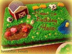 Barn Yard Birthday Cake by Samantha's Sweets #farm cake