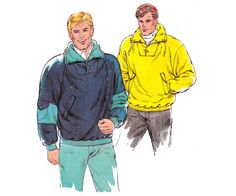 80s Mens Sweatshirts Pattern Kwik Sew 1726 by allthepreciousthings