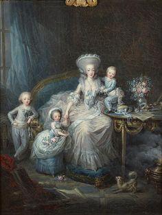 A portrait of the comtesse d'Artois and her children by Charles Leclercq, 1780-1782. [credit: © Château de Versailles, Dist. RMN-Grand Palais / Christophe Fouin]