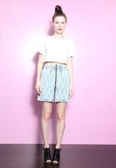 Vintage 80's Mid Blue Acid Wash Quilted Denim Skirt