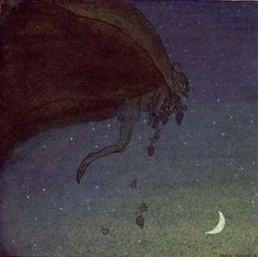 The magician flew back to Alivda's window~The Magician's Cape ! John Bauer