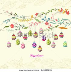 easter eggs background with flowers