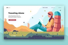 Traveling Alone -Banner&Landing Page by AQR Studio on Creative Market - Fun Graphics - Ideas of Fun Graphics - Traveling Alone -Banner&Landing Page by AQR Studio on Creative Market Design Ios, Web Design Trends, Graphic Design Inspiration, Travel Design, Interface Design, User Interface, Travel Inspiration, Flat Design Illustration, Travel Illustration