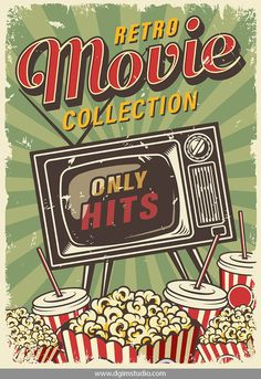 12 Cinema Posters - Vintage colorful cinema poster with retro TV set, soda cups and popcorn bucket boxes on radial back Cinema Posters, Cinema Film, Protest Posters, Poster Design, Vintage Design Poster, Retro Background, Room Posters, Retro Wallpaper, Photo Wall Collage