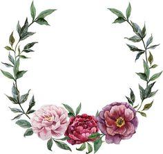 A beautiful design Watercolor Wallpaper, Wreath Watercolor, Floral Watercolor, Watercolor Paintings, Watercolours, Frame Floral, Flower Frame, Flower Art, Vintage Abbildungen
